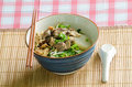 A bowl of thai style beef noodle with spoon and chopstick delicious menu Stock Image