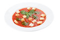 Bowl of tomato soup with croutons Royalty Free Stock Photo