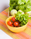 Bowl with tomatoes and lettuce Stock Images