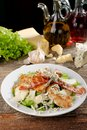 Bowl of Traditional Caesar Salad with Chicken Royalty Free Stock Photo