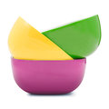 Bowl of various color isolated on white background file includes a excellent clipping path Stock Photos