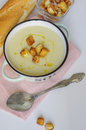 Bowl of vegetable soup. Cauliflower soup puree with croutons. Royalty Free Stock Photo
