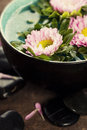 Bowl of water and flowers Stock Image