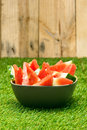 Bowl of watermelon slices in nice summer colors Stock Image