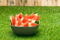 Bowl of watermelon slices in nice summer colors Royalty Free Stock Photography