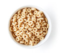 Bowl of Whole Grain Cheerios Cereal, from above Royalty Free Stock Photo