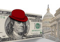 Bowler hat on american dollar bill with capitol building in background washington d c u s a Stock Photography