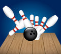 Bowling alley over blue background vector illustration Royalty Free Stock Photo