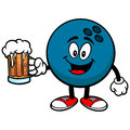 Bowling Ball with Beer Royalty Free Stock Photo