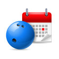 Bowling ball and calendar Stock Photos