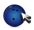 Bowling ball with cursor arrow sport shopping concept illustration Stock Photos