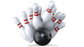 Bowling ball knocks pin of skittles and makes perfect strike. Royalty Free Stock Photo