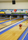 Bowling Ball in Motion on Bowling Lanes Royalty Free Stock Photo