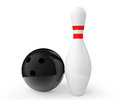 Bowling ball and pin on a white background Royalty Free Stock Image