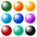 Bowling ball set of glossy balls Stock Photos