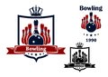 Bowling club emblem or symbol with royal crown frame ball ninepins ribbon and text isolated on white background Royalty Free Stock Photo