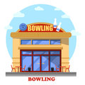 Bowling club outdoor exterior panorama view Royalty Free Stock Photo