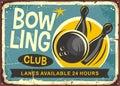 Bowling club retro poster design Royalty Free Stock Photo