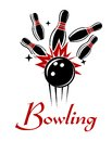 Bowling emblem or logo expressive with smashing ball and ninepins isolated on white colored background for sport recreation Royalty Free Stock Image