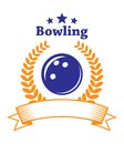 Bowling emblem retro or logo with ball laurel wreath banner and stars isolated on white background for sport or leisure design Royalty Free Stock Images