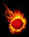 Bowling fire ball black vector illustration Royalty Free Stock Photo