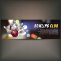 Bowling horizontal banner with bowling champ club and leagues symbols realistic