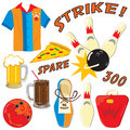 Bowling icons and elements Royalty Free Stock Photography