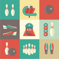 Bowling icons vector vintage this is file of eps format Royalty Free Stock Photos