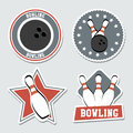 Bowling labels over blue background vector illustration Royalty Free Stock Photography