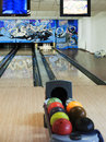 Bowling lane colorful balls in front of Royalty Free Stock Image