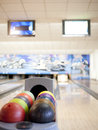 Bowling lane colorful balls in front of Royalty Free Stock Photography