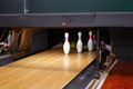 Bowling lane and skittles Royalty Free Stock Images