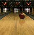 Bowling Lanes - Rolling Bowling Ball Royalty Free Stock Photo