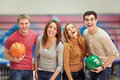 In bowling laughing young people Stock Photography