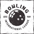 Bowling league vector emblem in vintage style Royalty Free Stock Photo