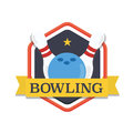 Bowling logo,design template, emblem tournament template. Skittles and ball with ribbons.