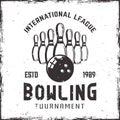Bowling ninepins and ball vector vintage emblem Royalty Free Stock Photo
