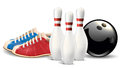 Bowling objects. Vector clip art illustration.