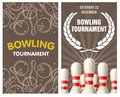 Bowling party flyer with skittles and balls Royalty Free Stock Photo
