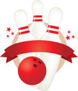 Bowling pin and ball banner illustration Stock Photography