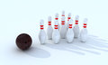 Bowling pins with ball on the white background Royalty Free Stock Image