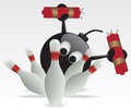 Bowling pins and bomb illustration Stock Photo