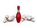 Bowling pins leader red pin with white stripes standing isolated on white background Stock Photo