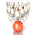 Bowling pins are lined up Royalty Free Stock Photography