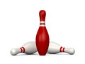 Bowling pins red pin wins the game white skittles lose isolated on white background Stock Images