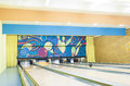 Bowling Playground Lanes With One ball Rolling Stock Images