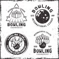 Bowling set of four vintage emblems or badges Royalty Free Stock Photo