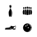 Bowling. Simple Related Vector Icons