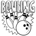 Bowling sketch Royalty Free Stock Photography