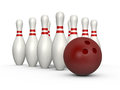 Bowling Skittles and Ball Royalty Free Stock Photo